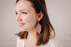 Blush and Gold Leaf Earring