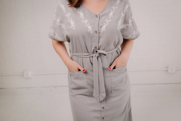 Grey Embroidered Midi Dress