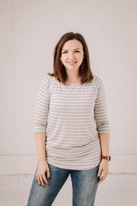 Striped Three-Quarter Sleeve Top