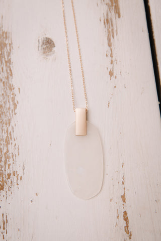 White Acrylic Pendant Necklace