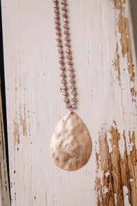 Purple Bead Teardrop Necklace