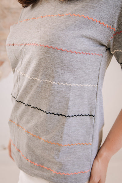 Embroidered Squiggle Top