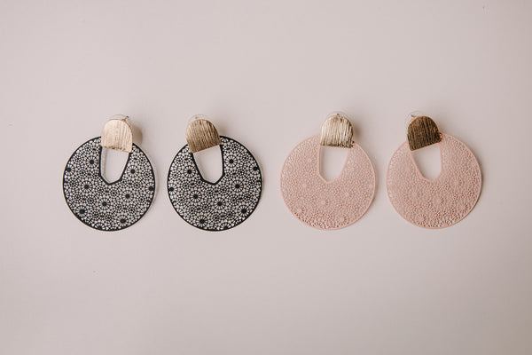 Metal Round Lace Earring