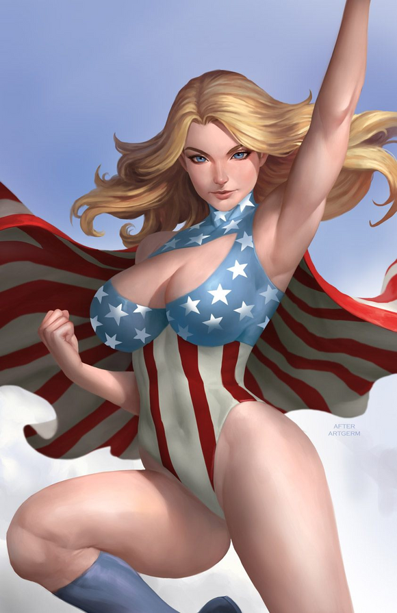 Pre-Order: PATRIOTIKA #1 Art of Nate's homage to Supergirl #12! ***Available in VIRGIN & METAL!*** - Mutant Beaver Comics