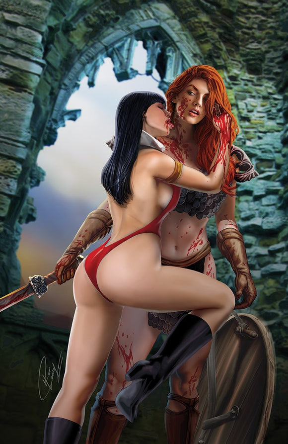 Pre-Order: VAMPIRELLA RED SONJA #11 Ron Leary VIRGIN Exclusive! ***Ltd to Only 500*** (09/30/2020) - Mutant Beaver Comics