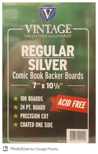 Vintage 24 pt Backer Boards - REGULAR / SILVER Size (100 pk) - Mutant Beaver Comics