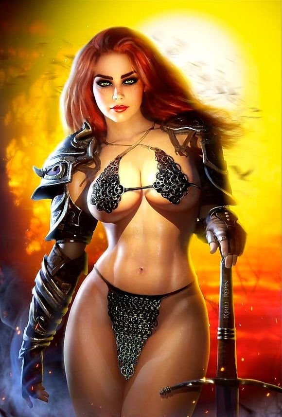 Pre-Order: INVINCIBLE RED SONJA #1 KIRILL REPIN VIRGIN EXCLUSIVE! (Ltd to Only 500) 05/30/21