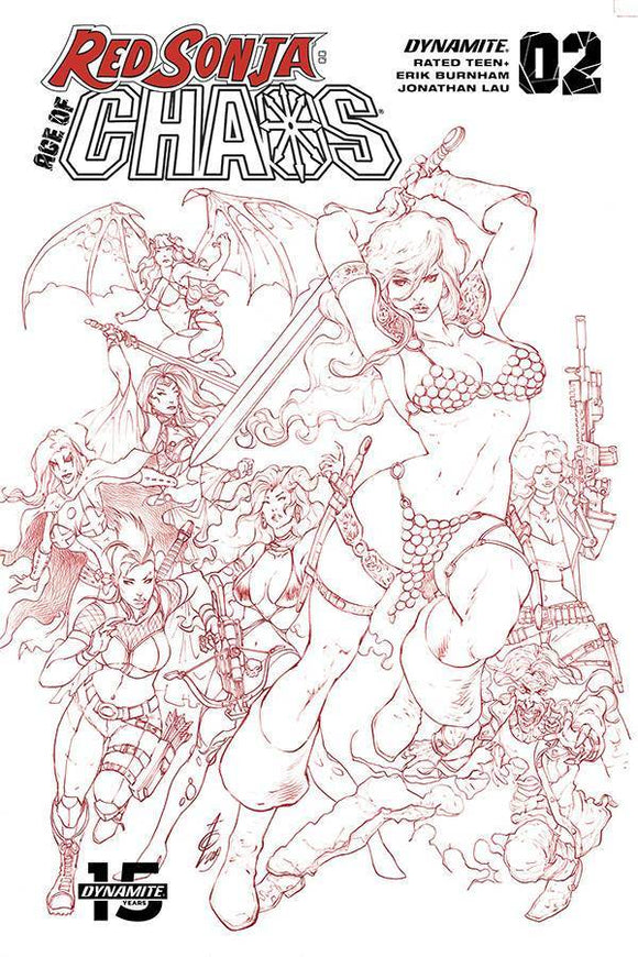 RED SONJA AGE OF CHAOS #2 1:7 ALAN QUAH B&W RED RATIO - Mutant Beaver Comics