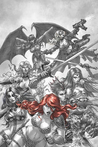RED SONJA AGE OF CHAOS #1 1:7 QUAH B&W RED RATIO VARIANT - Mutant Beaver Comics