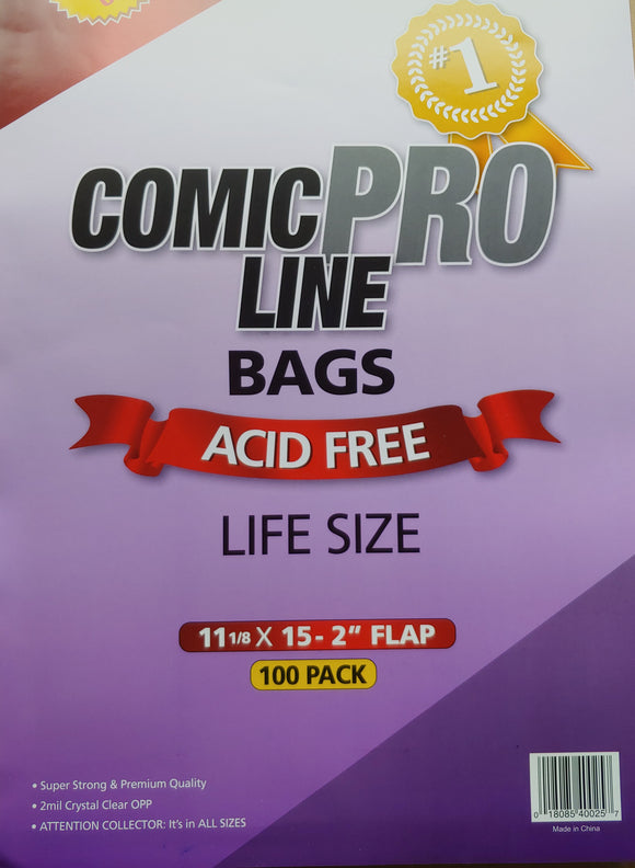 Crystal Clear 2 mil PRO Comic Bags - LIFE SIZE 11 1/8