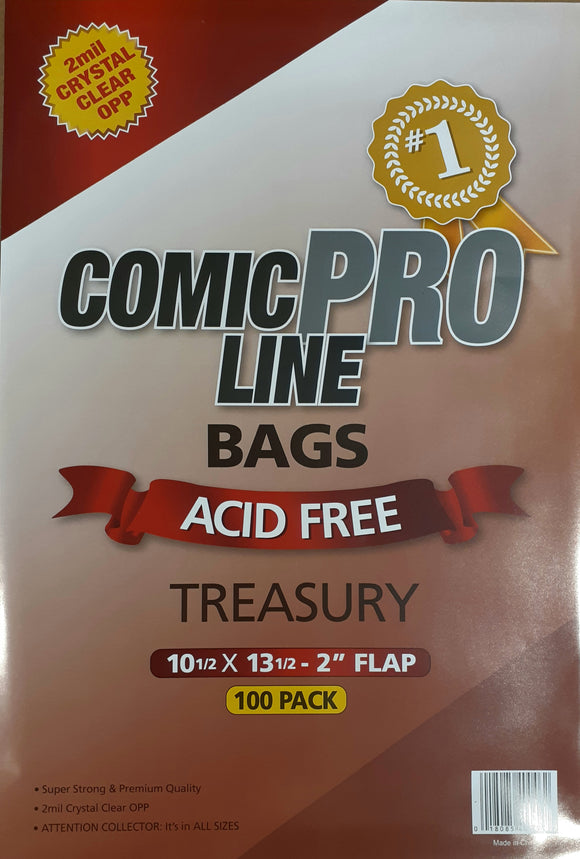 Crystal Clear 2 mil PRO Comic Bags - TREASURY - 10 1/2