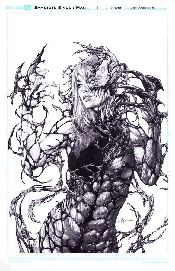 SYMBIOTE SPIDER MAN #1 Jay Anacleto CARNAGE QUEEN Exclusive B/W SKETCH! ***Ltd to Only 1000*** - Mutant Beaver Comics