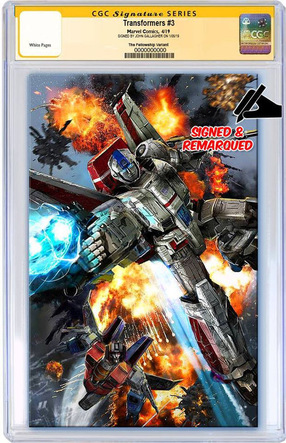 Pre-Order: TRANSFORMERS #3 John Gallagher VIRGIN Exclusive CGC SS & REMARK (9.6+ or better)