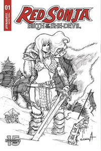 RED SONJA: BIRTH OF SHE DEVIL #1 JOHN GALLAGHER 1:20 B/W Ratio Variant! - Mutant Beaver Comics