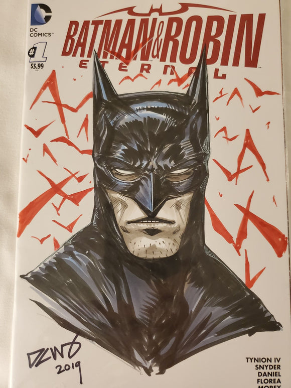BATMAN Color Sketch from Derrick Chew! One-of-a-Kind! SIGNED w/ COA! - Mutant Beaver Comics