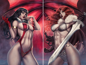 VAMPIRELLA #10 & RED SONJA #15 Ariel Diaz CONNECTING VIRGIN Exclusive Set ***Ltd to Only 500!*** (2 Books) - Mutant Beaver Comics