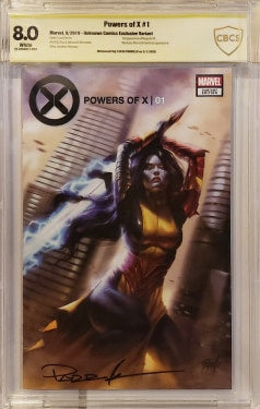 CBCS 8.0 POWERS OF X #1 Lucio Parrillo TRADE DRESS Signed by Parrillo! - Mutant Beaver Comics