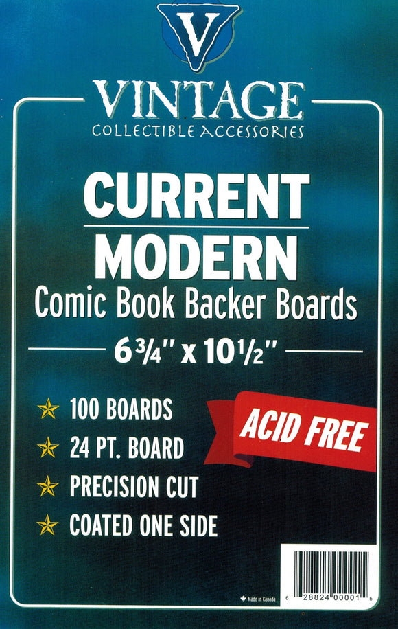 Vintage 24 pt Backer Boards - CURRENT Size (100 pk) - Mutant Beaver Comics