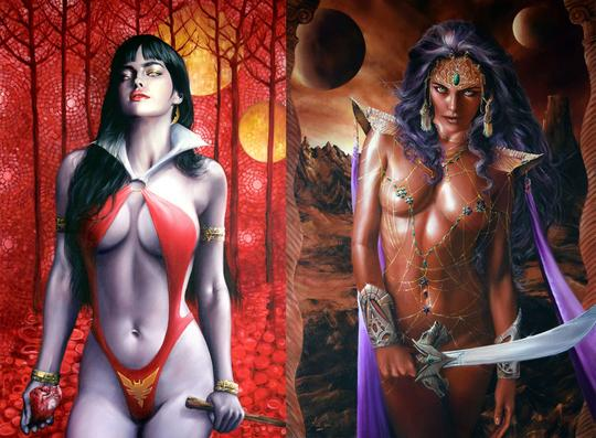Pre-Order: DYNAMITE FEMALES Virgin Exclusive (VAMPIRELLA & DEJAH THORIS) Set by Fred Ian! ***Only 400 Sets Woldwide*** 03/20/19