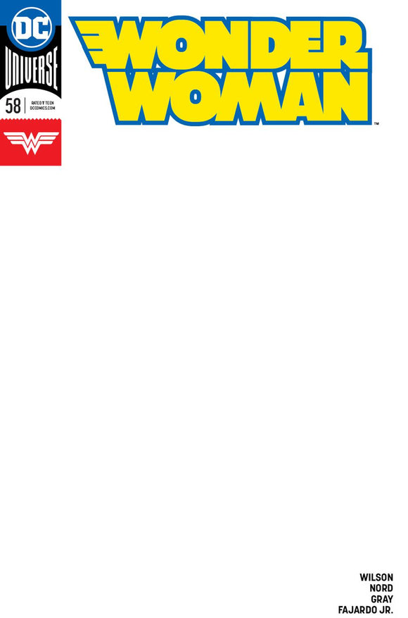 WONDER WOMAN #58 Sketch Blank - Mutant Beaver Comics