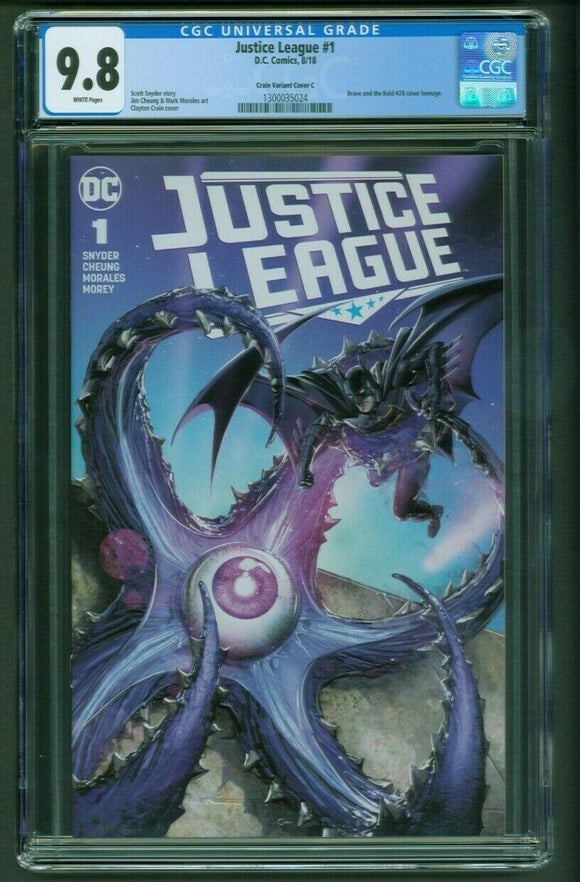 JUSTICE LEAGUE #1 CGC 9.8 Clayton Crain Variant Cover C Edition B&B #28 Homage!
