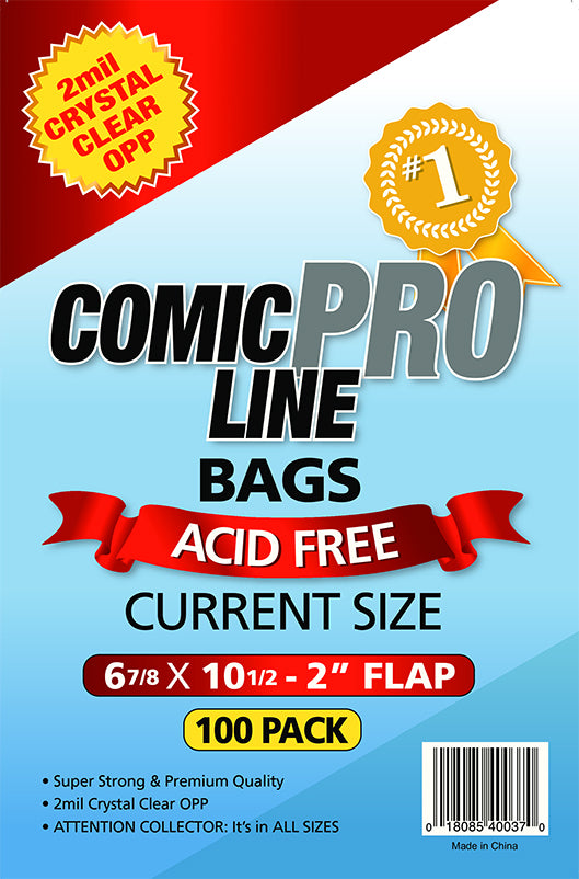 Crystal Clear 2 mil PRO Comic Bags - CURRENT SIZE  6 7/8