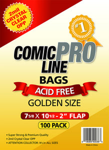 "Crystal Clear 2 mil PRO Comic Bags - GOLDEN AGE SIZE - 7 5/8"" x 10 1/2"" w/ 2"" flap (100 pk) - Mutant Beaver Comics"