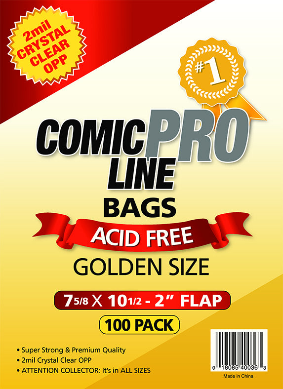 Crystal Clear 2 mil PRO Comic Bags - GOLDEN AGE SIZE - 7 5/8