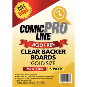 ***NEW*** Comic Pro Line 60pt CLEAR Comic Backer Boards - GOLD Size (5 Per Pack) - Mutant Beaver Comics