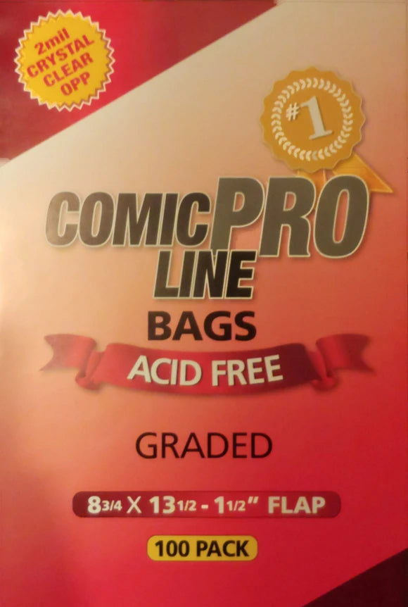 Crystal Clear 2 mil PRO Comic Bags - GRADED BAGS (CGC/CBCS) - 8 3/4