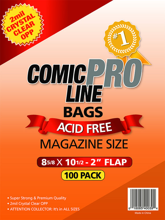 Crystal Clear 2 mil PRO Comic Bags - MAGAZINE STYLE 8 5/8