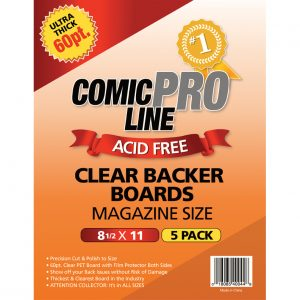 ***NEW*** Comic Pro Line 60pt CLEAR Comic Backer Boards - MAGAZINE Size (5 Per Pack) - Mutant Beaver Comics