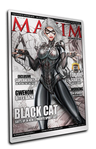 METAL BLACK CAT SPLATTER MAXIM PRINT (6.5 x 10) - Mutant Beaver Comics
