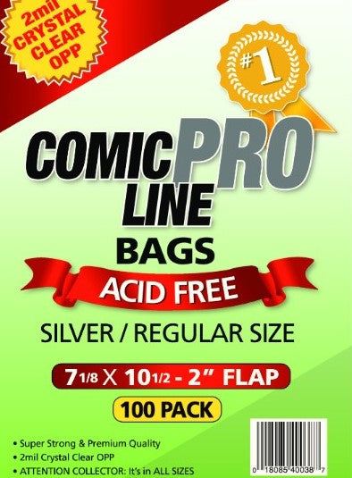 Crystal Clear 2 mil PRO Comic Bags - REGULAR/SILVER 7 1/8