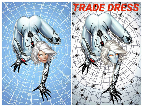 WHITE WIDOW #2 Sabine Rich SET (Trade + Foil Virgin ~ Homage to Milo Manara's Spider-Woman pose) ***ONLY 100 Sets!*** - Mutant Beaver Comics