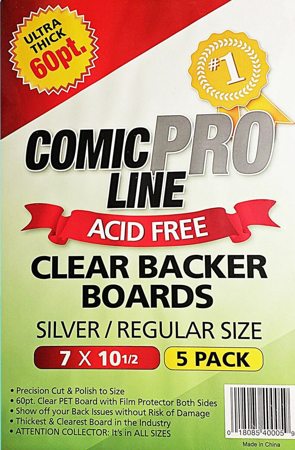Comic Pro Line 60pt CLEAR Comic Backer Boards - SILVER/REGULAR Size (5 Per Pack) - Mutant Beaver Comics