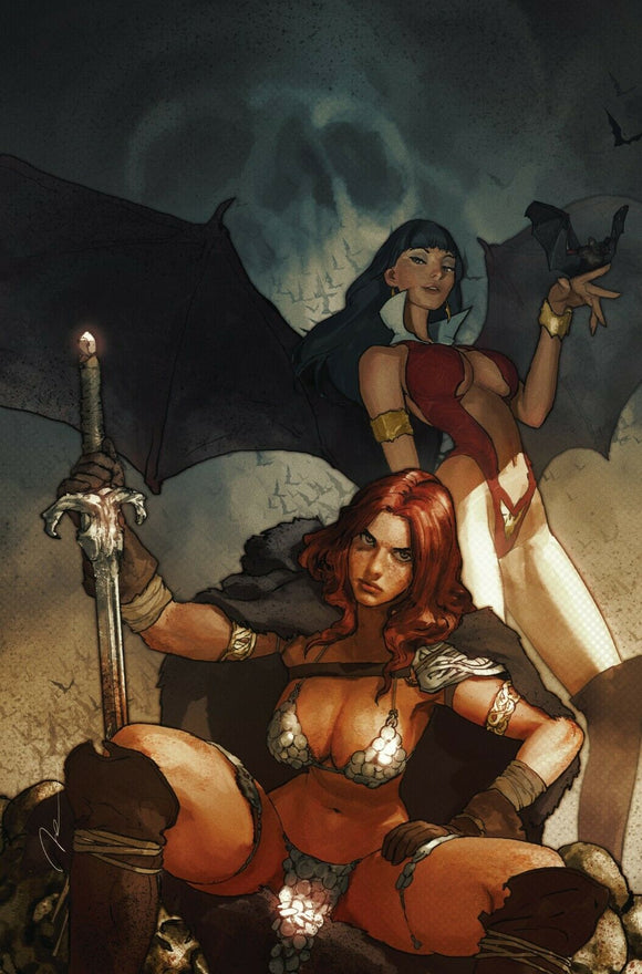 VAMPIRELLA RED SONJA #1 Gerald Parel NYCC 2019 VIRGIN Exclusive ***Ltd to Only 500*** - Mutant Beaver Comics