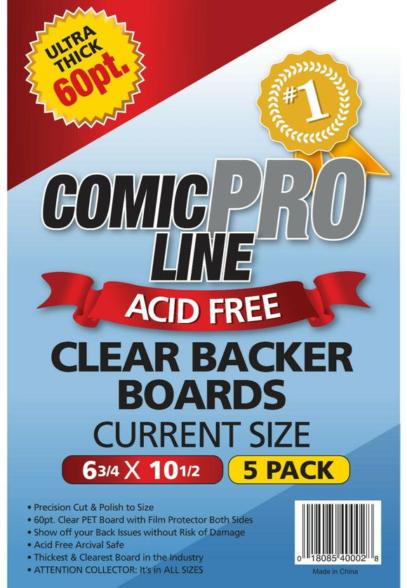 Comic Pro Line 60pt CLEAR Comic Backer Boards - CURRENT Size (5 Pack) - Mutant Beaver Comics