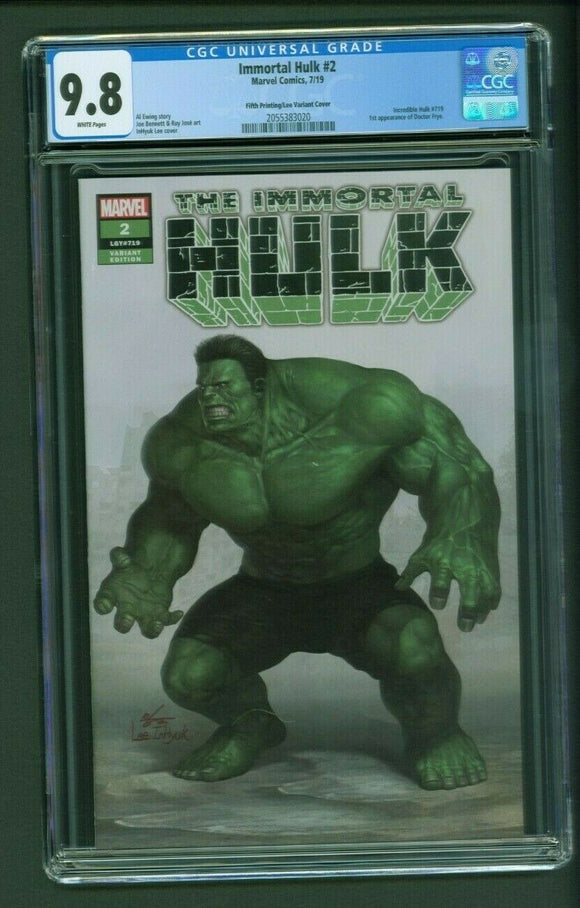 CGC 9.8 Immortal Hulk #2 5th Printing Inhyuk Lee Exclusive! - Mutant Beaver Comics