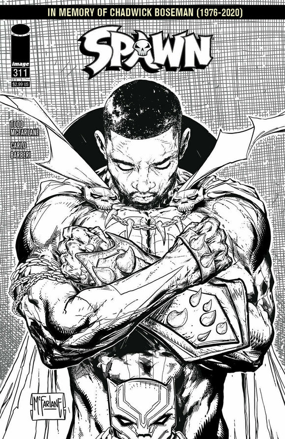 SPAWN #311 Chadwick Boseman B&W 1:5 Secret Variant!