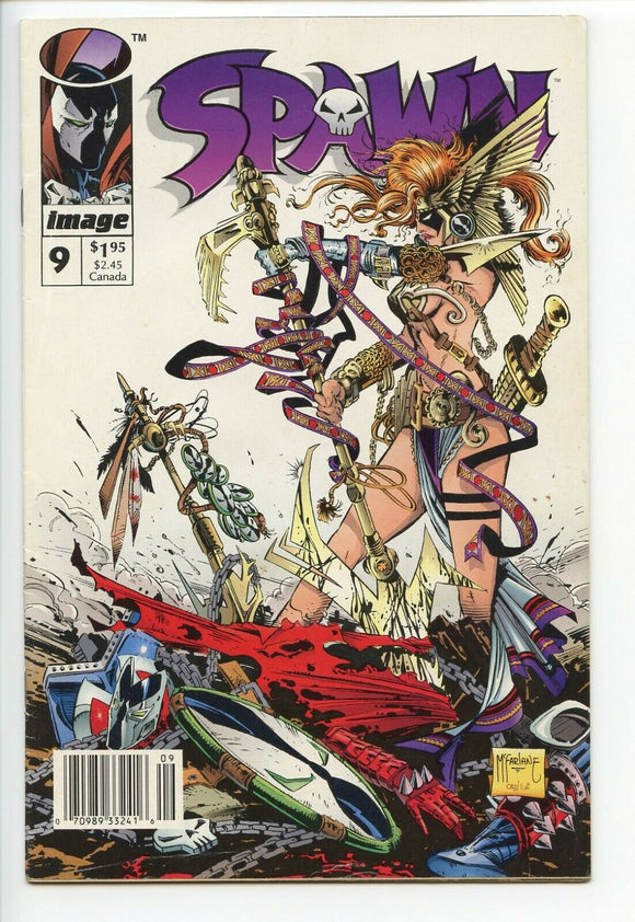 SPAWN #9 Newsstand Edition (1st app of Angela) ***Harder To Find*** NM - Mutant Beaver Comics
