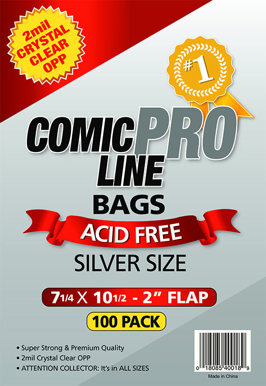 Crystal Clear 2 mil PRO Comic Bags - SILVER AGE 7 1/4