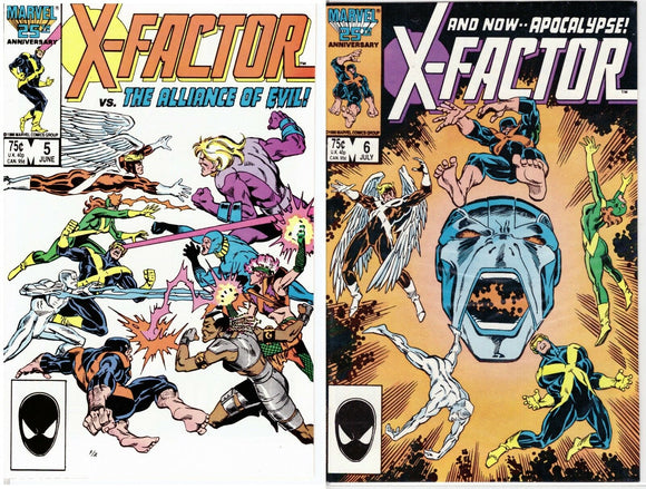X-FACTOR #5 and #6 First Prints (Cameo & 1st App of Apocalypse!) High Grade Copies!