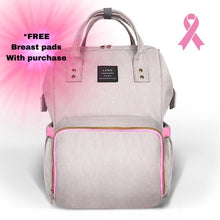 Large Capacity Luxury Nappy Bag - Grey and Pink