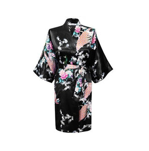 Silk Satin Hospital Gown - Black