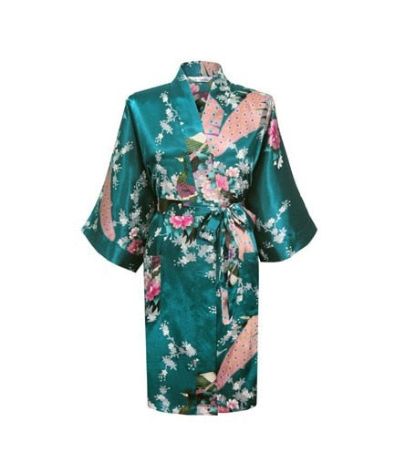 Silk Satin Hospital Gown - Sea Green