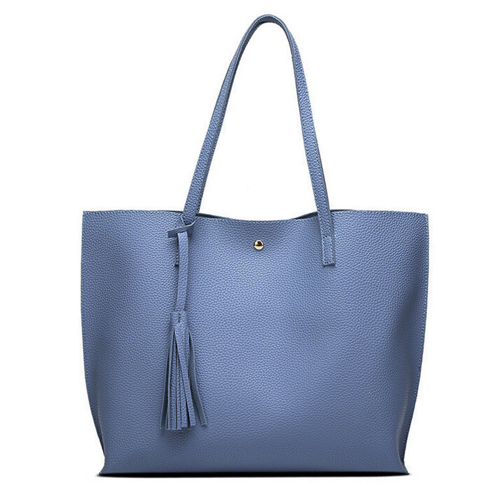 Leather Tote - Blue