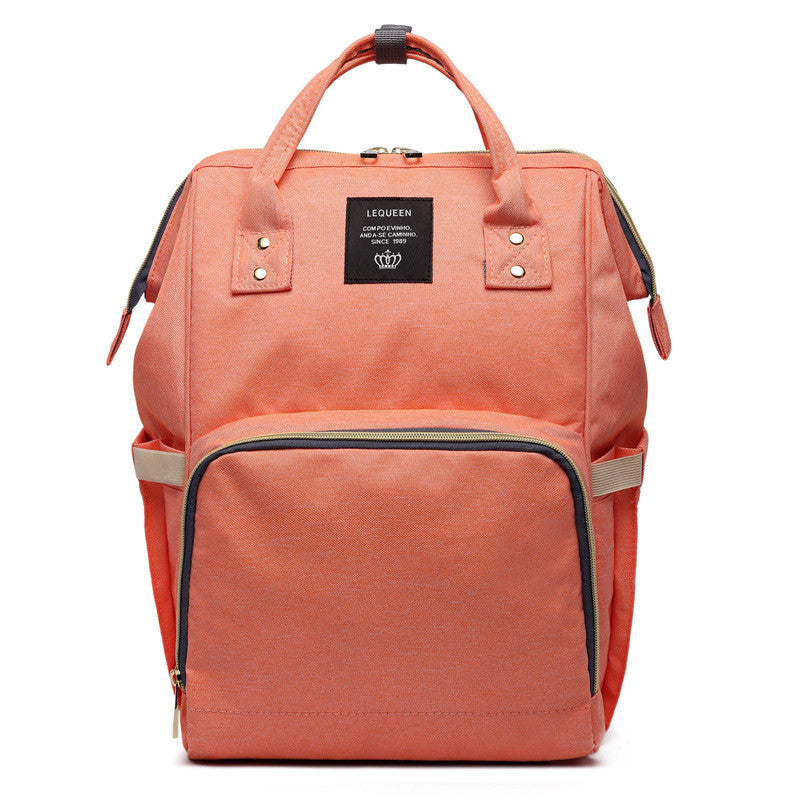 Large Capacity Luxury Nappy Bag - Orange/Peach