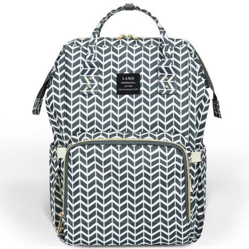 Large Capacity Luxury Nappy Bag - Grey White Chevron