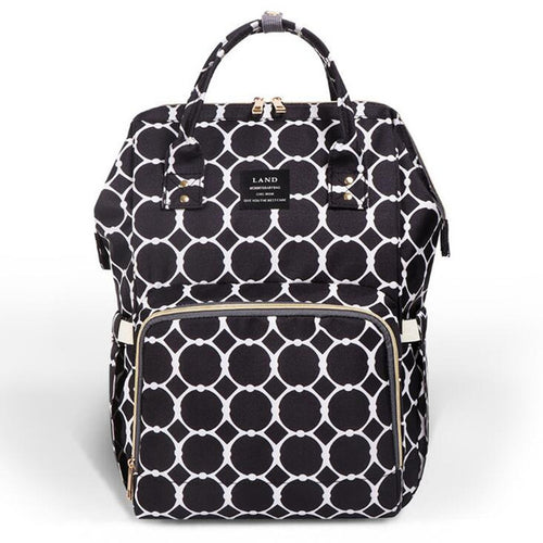 Large Capacity Luxury Nappy Bag - Black Lux